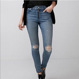 EXPRESS DISTRESSED HIGH RISE ANKLE LEGGING JEAN